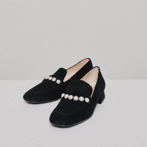 CidiCri - Scarpe - Mocassino scamosciato con perle black - Chiarini